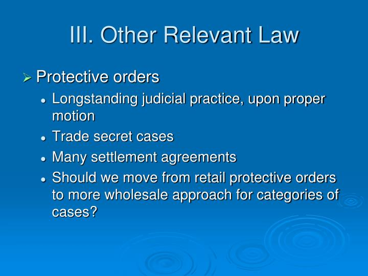 III. Other Relevant Law