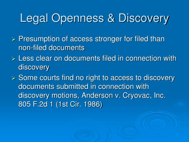 Legal Openness & Discovery