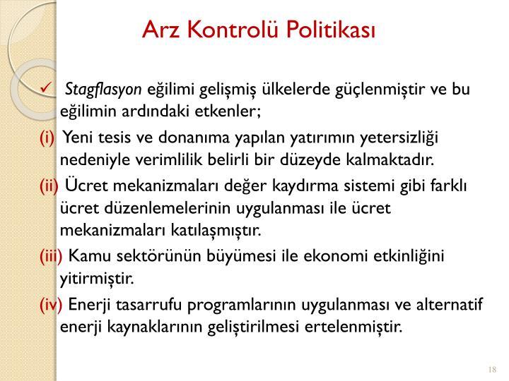 Arz Kontrolü Politikası