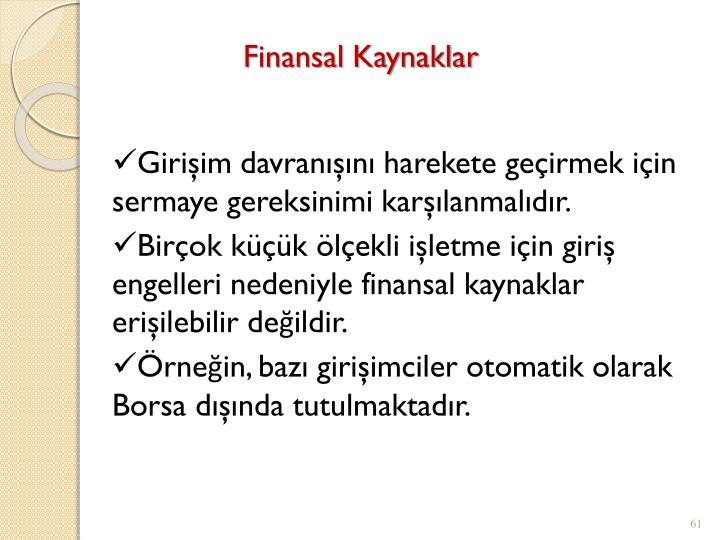 Finansal Kaynaklar