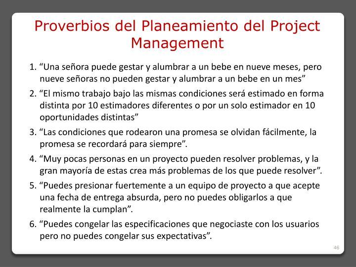 Proverbios del Planeamiento del Project Management