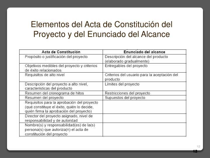 Elementos del Acta de Constitución del Proyecto y del Enunciado del Alcance
