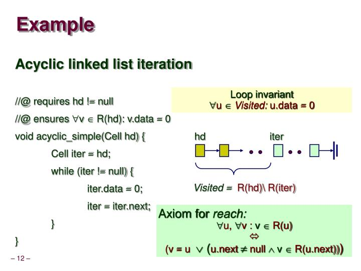 Acyclic linked list iteration