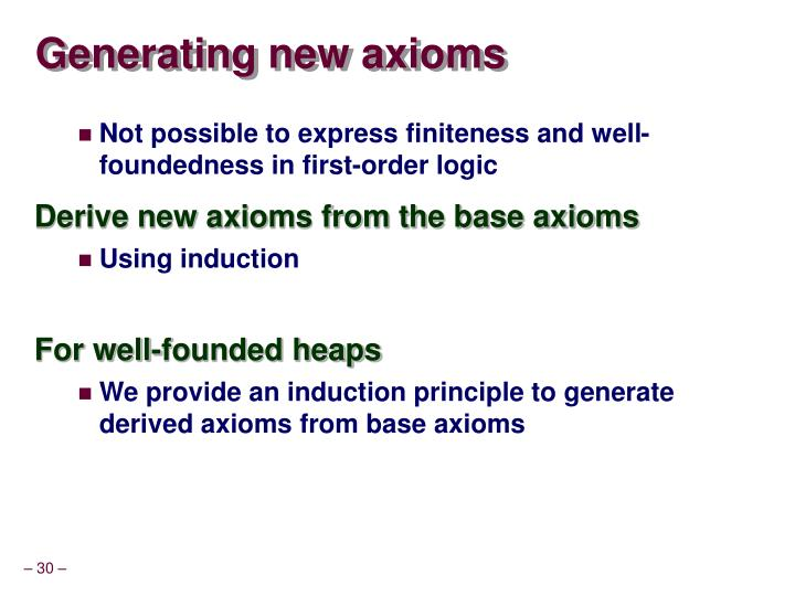 Generating new axioms