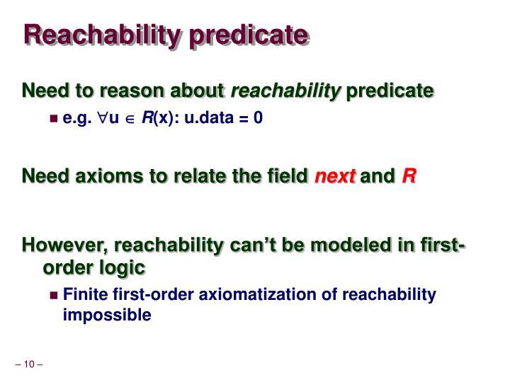 Reachability predicate