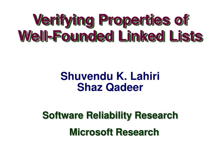 Verifying Properties of