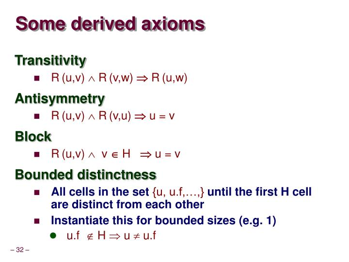 Some derived axioms