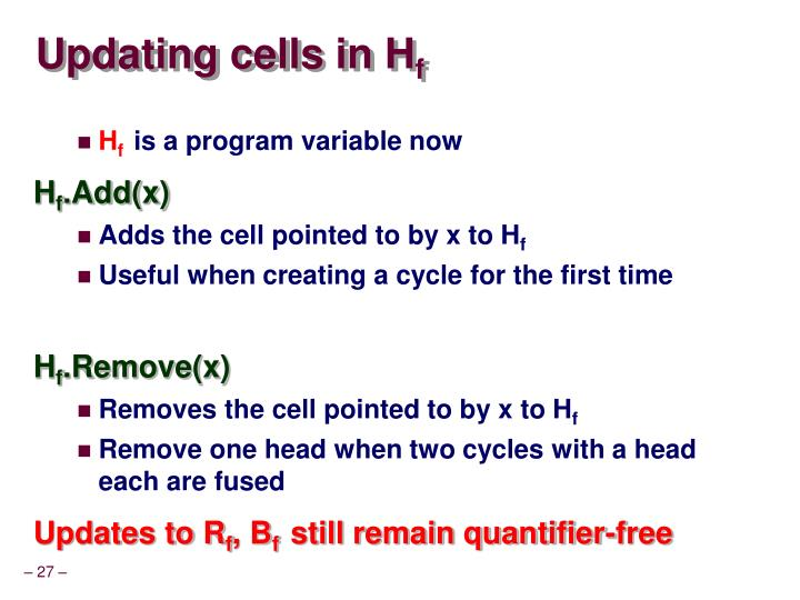 Updating cells in H
