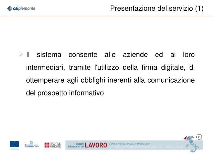 Presentazione del servizio (1)