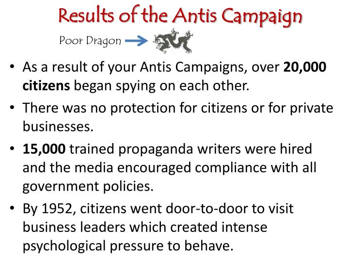 Results of the Antis Campaign