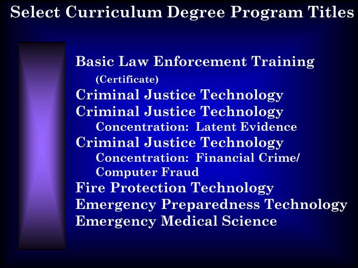 Select Curriculum Degree Program Titles