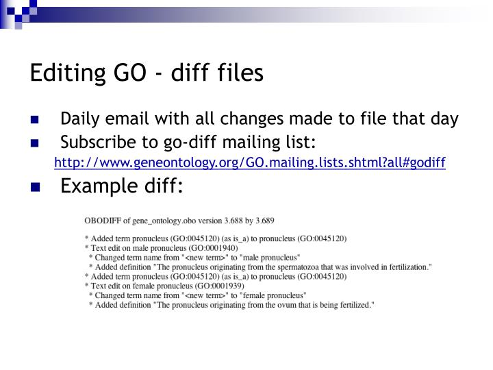Editing GO - diff files