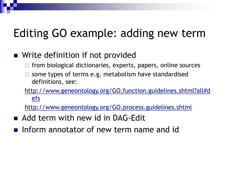 Editing GO example: adding new term