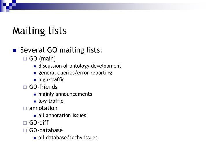 Mailing lists