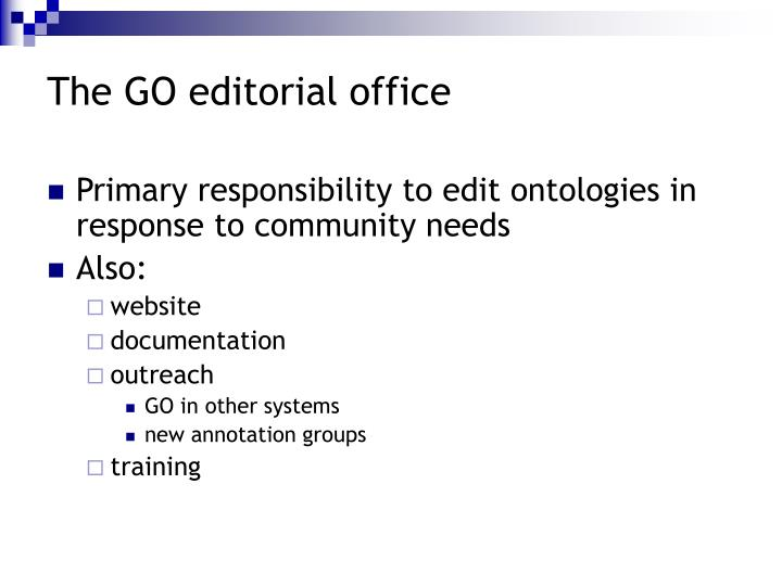 The GO editorial office