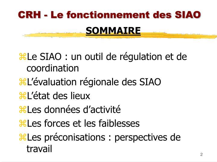 CRH - Le fonctionnement des SIAO