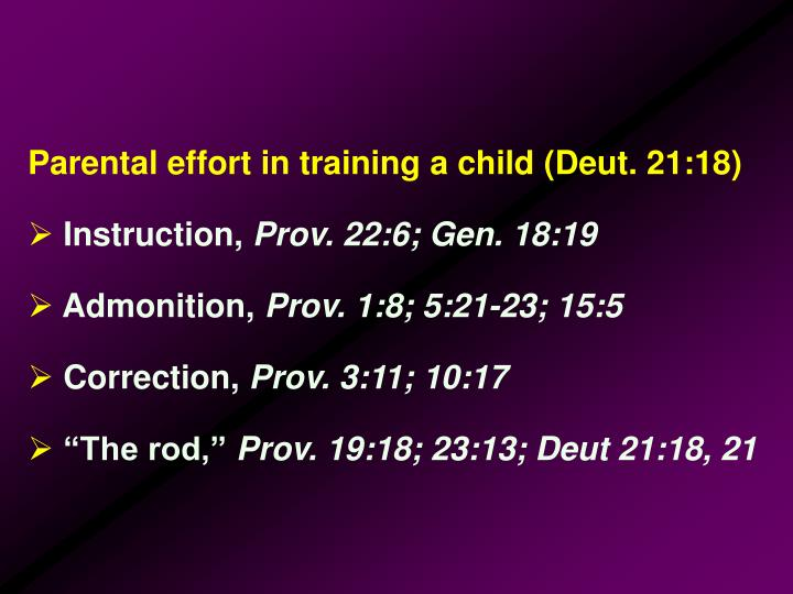 Parental effort in training a child (Deut. 21:18)