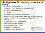 assignment 3 summary proces and its timing