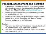 product assessment and portfolio