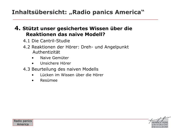 "Inhaltsübersicht: ""Radio panics America"""