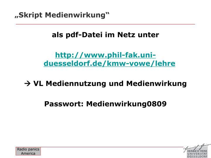 """""""Skript Medienwirkung"""""""