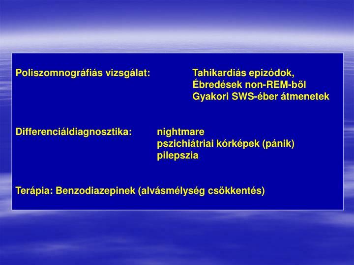 Poliszomnográfiás vizsgálat:Tahikardiás epizódok, Ébredések non-REM-ből