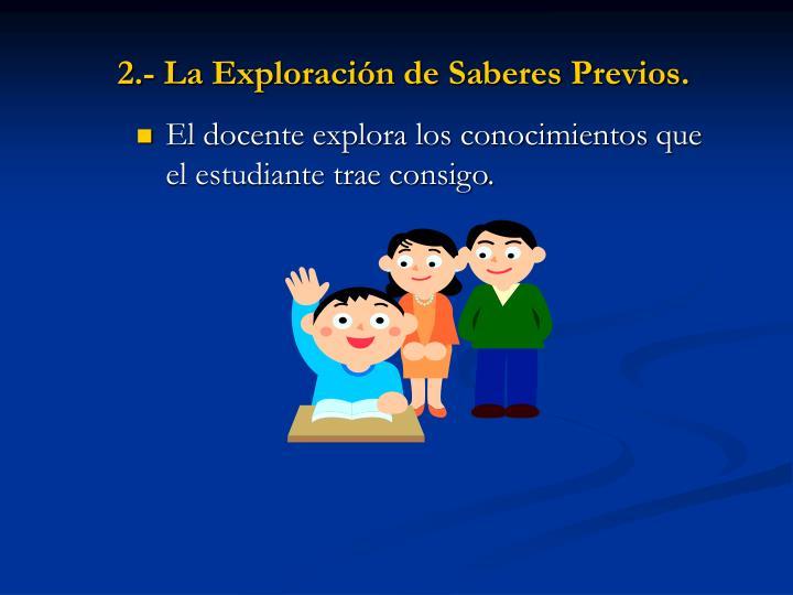 2.- La Exploración de Saberes Previos.
