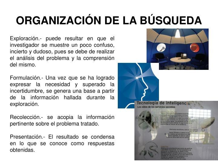 ORGANIZACIÓN DE LA BÚSQUEDA