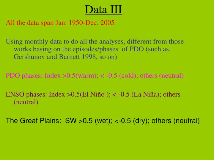All the data span Jan. 1950-Dec. 2005
