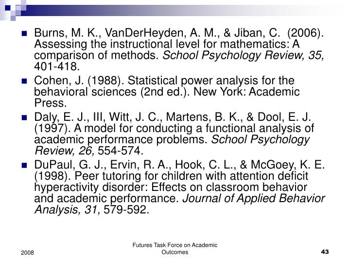 Burns, M. K., VanDerHeyden, A. M., & Jiban, C.  (2006). Assessing the instructional level for mathematics: A comparison of methods.