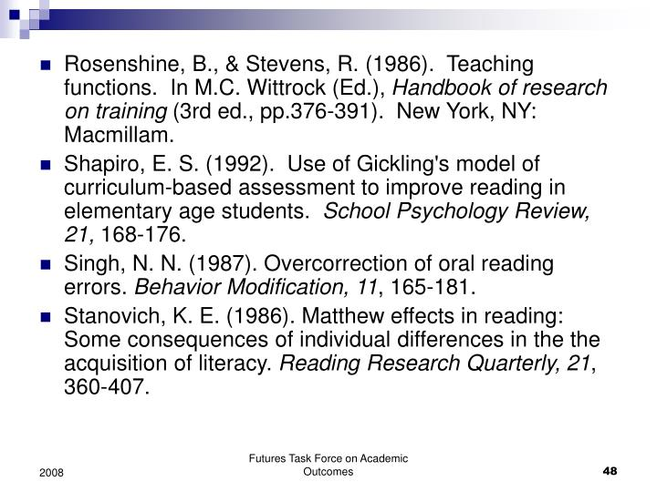 Rosenshine, B., & Stevens, R. (1986).  Teaching functions.  In M.C. Wittrock (Ed.),