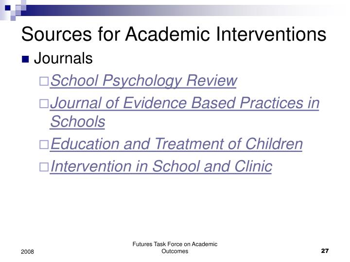 Sources for Academic Interventions
