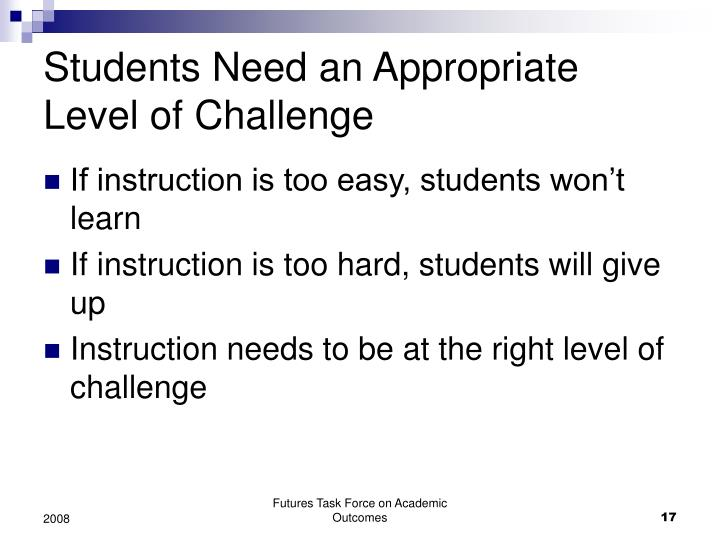 Students Need an Appropriate Level of Challenge