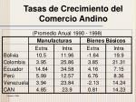 tasas de crecimiento del comercio andino