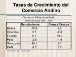 tasas de crecimiento del comercio andino3