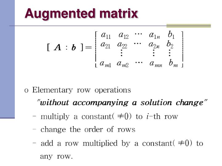 Augmented matrix
