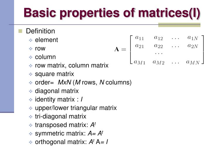 Basic properties of matrices(I)