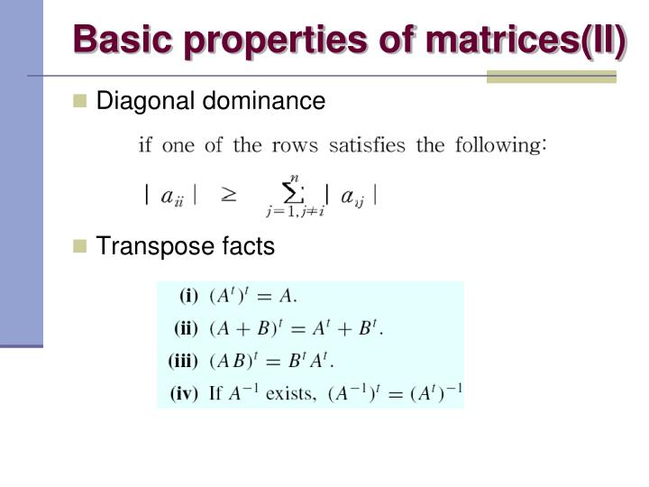 Basic properties of matrices(II)