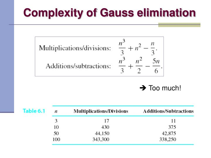 Complexity of Gauss elimination