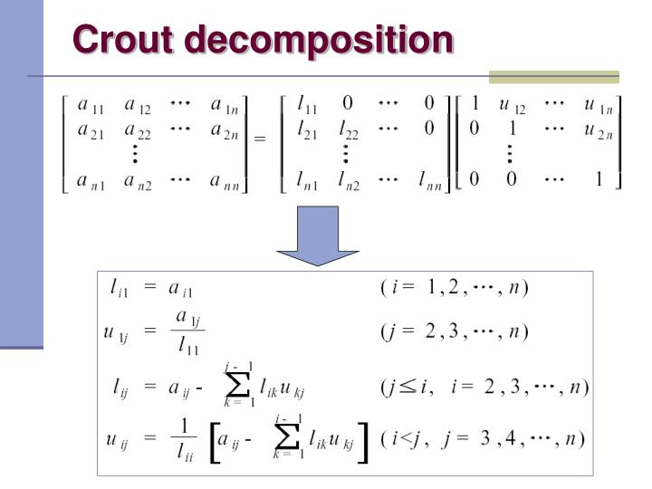 Crout decomposition