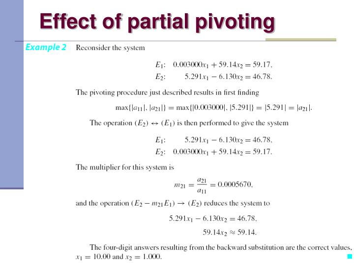 Effect of partial pivoting