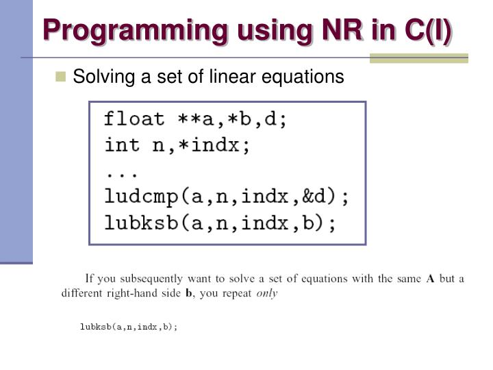 Programming using NR in C(I)