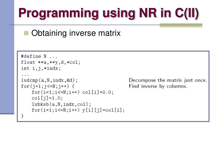 Programming using NR in C(II)