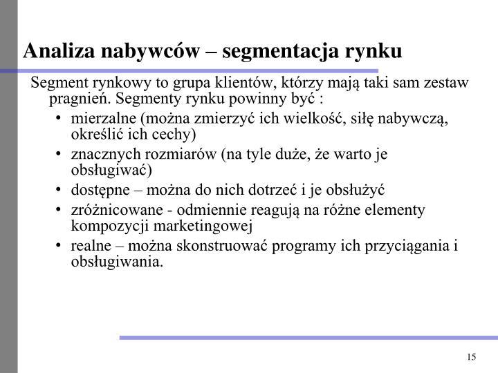 Analiza nabywców – segmentacja rynku