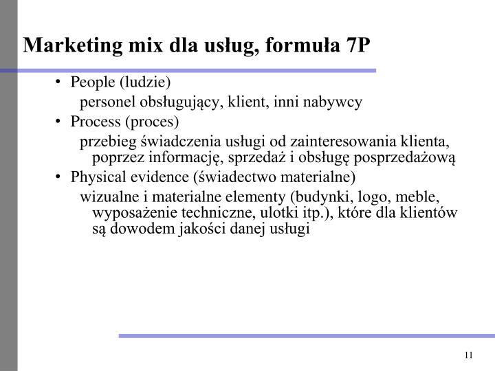 Marketing mix dla usług, formuła 7P