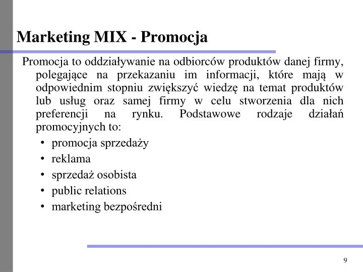 Marketing MIX - Promocja