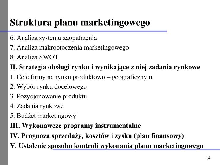 Struktura planu marketingowego