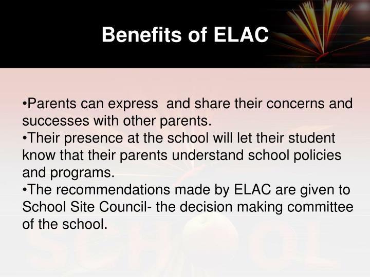 Benefits of ELAC