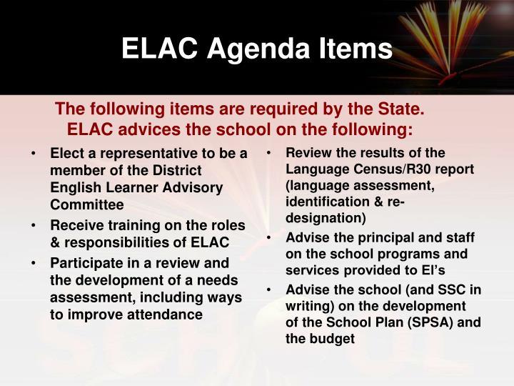 ELAC Agenda Items