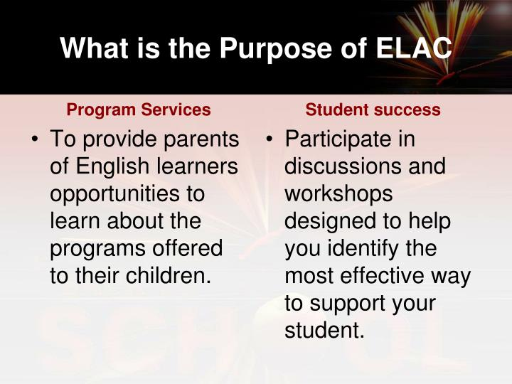 What is the Purpose of ELAC